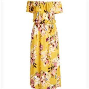 Floral off shoulder tiered dress